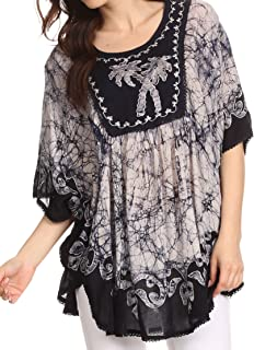 Lynda Two Tone Batik Embroidered Palm Tree Peasant Top/Poncho
