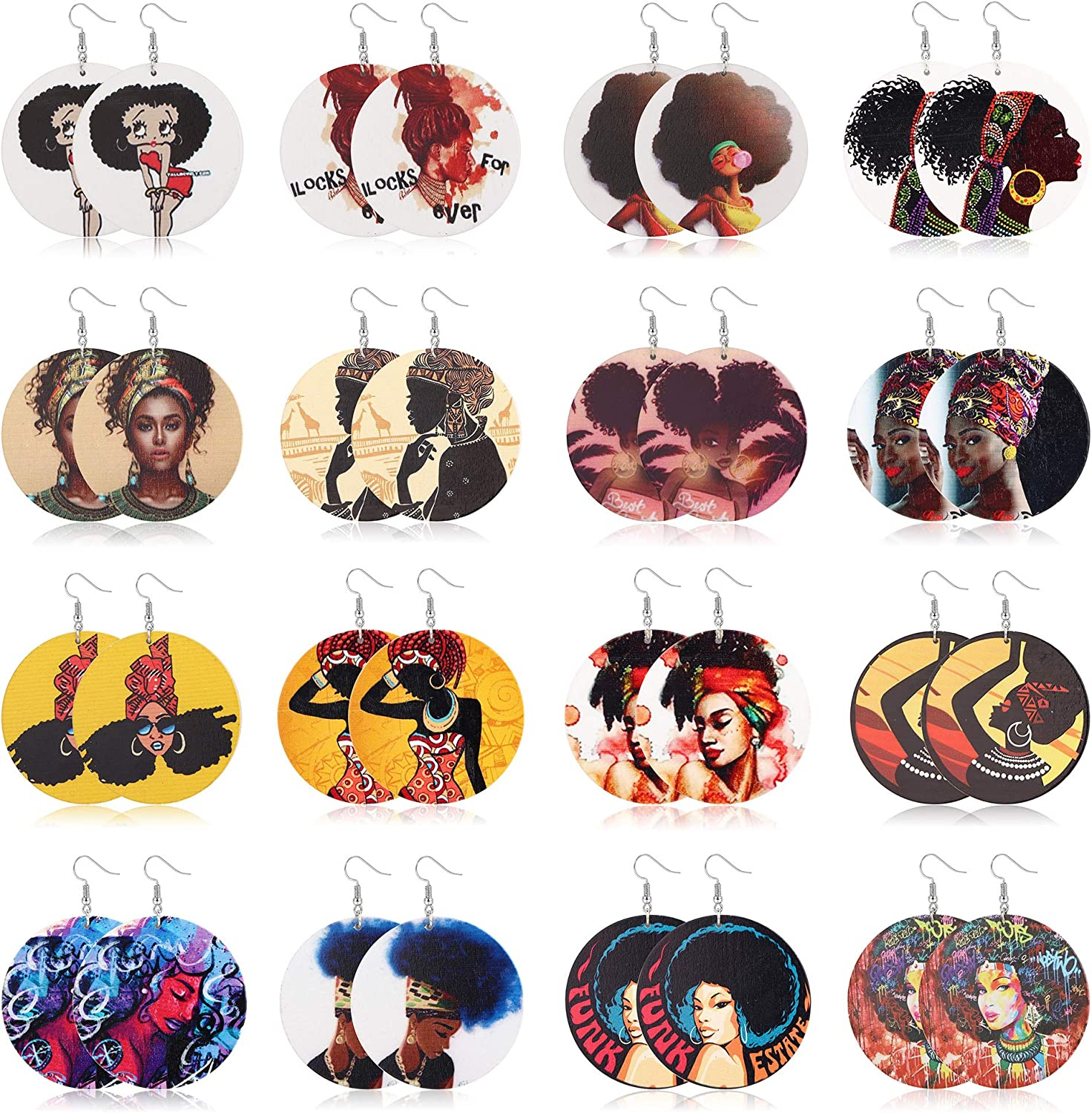 16 Pair Round African Women Ethnic Earrings Weekly update Style online shop Wooden Painted