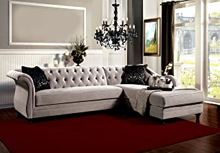 Furniture of America 2-Piece Corinee Glamorous Sectional Sofa, Taupe