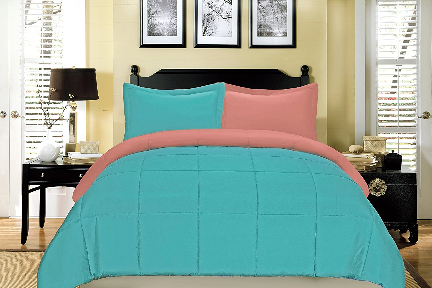 South Bay Reversible Down Alternative Comforter Set, Full Queen, Coral and Aqua