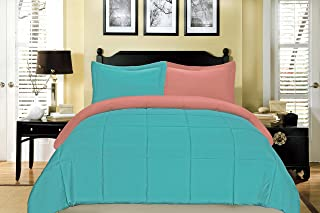 South Bay Reversible Down Alternative Comforter Set, Full/Queen, Coral and Aqua