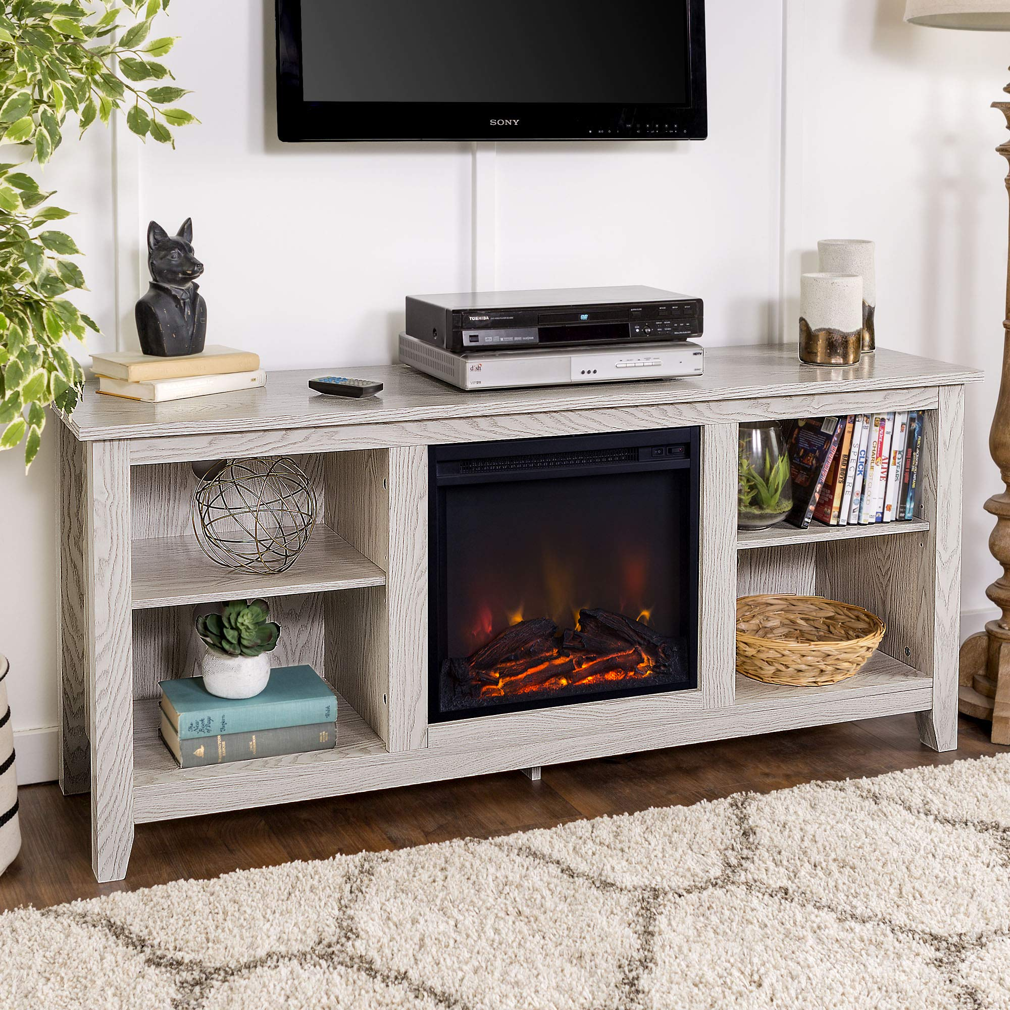 W. diseño madera chimenea media TV Soporte consola: Amazon.es: Hogar