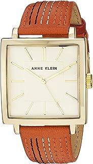 Anne Klein Women's AK/2740CHOR Strap Watch, Gold-Tone and Orange Leather