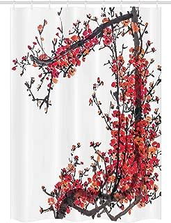 Ambesonne Japanese Stall Shower Curtain, Japanese Cherry Blossom Sakura Branch with Brushstrokes Image Print, Fabric Bathroom Decor Set with Hooks, 54