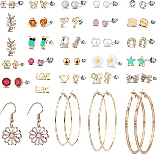 29 Pairs Assorted Multiple Stud Earrings set for Women Girls Simple Hoop earring set Girl's jewelry