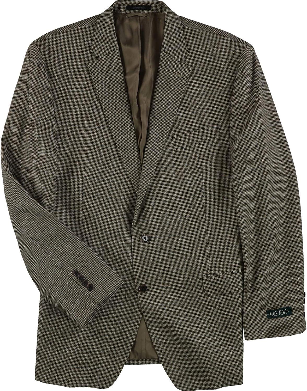 Ralph Lauren Mens Check Sport Coat, Brown, 46 Long