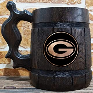 Green Bay Packers Beer Mug, American Football Wooden Beer Stein, NFL Sport Gift, Green Bay Packers Tankard, Groomsman Gift, Gift for Him