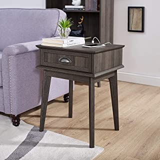 Newport Series Tall End Side Table with Fully Extended Storage Drawer | Night Stand | Sturdy and Stylish | Easy Assembly | Smoke Oak Wood Look Accent Living Room Bedroom Home Decor Retro Furniture