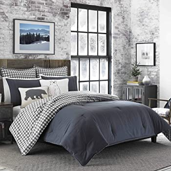 Eddie Bauer Home | Kingston Collection | 100% Cotton Soft and Cozy Premium Quality Comforter with Matching Shams, 3-Piece Bedding Set, Plaid to Solid Reversible, Full, Charcoal