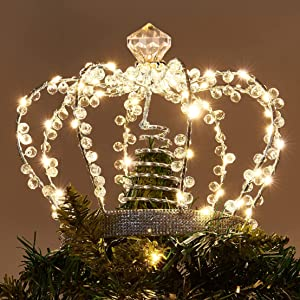 PEIDUO Christmas Jeweled Crown Tree Topper Adapter Plug in with 60 Warm White Lights LED Light Up Tree Topper Decoration for Christmas Tree