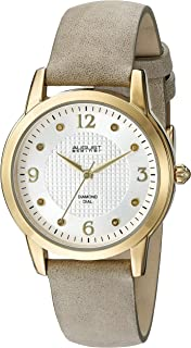 August Steiner Women's AS8198WTG Yellow Gold Quartz Watch with White Dial and Gray Suede Leather Strap