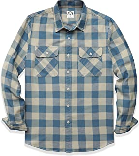 Men's Plaid Long Sleeve Shirts Button-Down Casual Cotton...