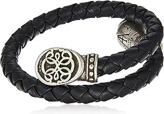 Alex and Ani Men's Braided Leather Wrap Bracelet, Path of Life, Rafaelian Silver, Expandable