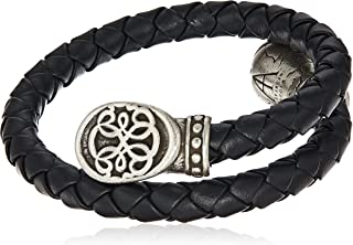 Alex and Ani Men's Braided Leather Wrap Bracelet, Path of Life, Rafaelian Silver, Expandable
