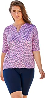 Swimsuits For All Women's Plus Size Three-Quarter Sleeve Swim Tee
