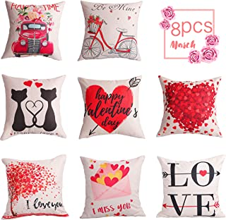 Geefuun 8PCS Valentine's Day Throw Pillow Case Decorations - Valentine Linen Cushion Cover 18 x 18 Inches Pink Truck Red H...