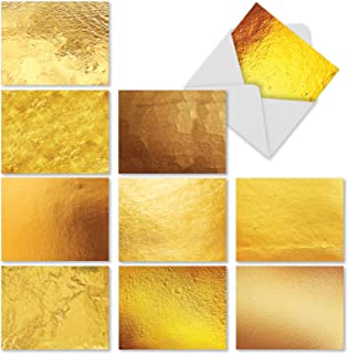 Going for the Gold - 10 Blank Note Cards with Envelopes (4 x 5.12 Inch) - Assorted Greeting Card Set - Photographs of Gold - All Occasion Cards for Wedding, Thank You - Stationery Notecards M3306