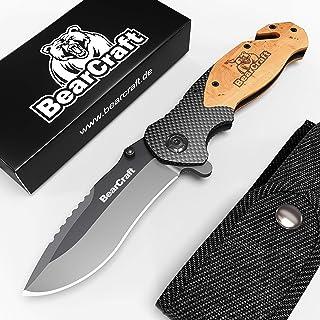 BearCraft Couteau Pliant en Carbone Design avec ** eBook Gratuit * | Couteau de Poche de..