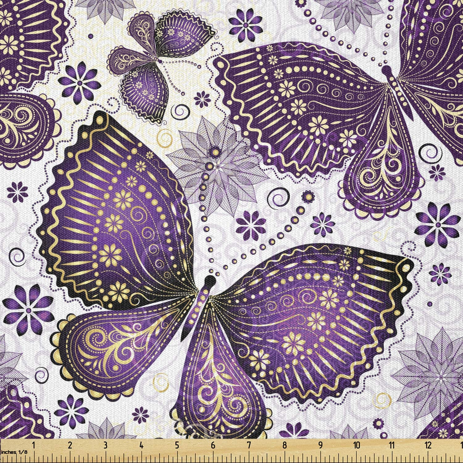 Ambesonne Natural Fabric by The Yard, Butterflies with Paisley Motif on Wings Flowers Art Print, Stretch Knit Fabric for Clothing Sewing and Arts Crafts, 1 Yard, Purple White