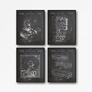 Computer Posters Set of 4 Computer Patent Posters Hard Drive Poster Graphics Card Poster USB Poster Computer Geek Wall Art IT Posters WB160 (8 x 10, Chalkboard Black)