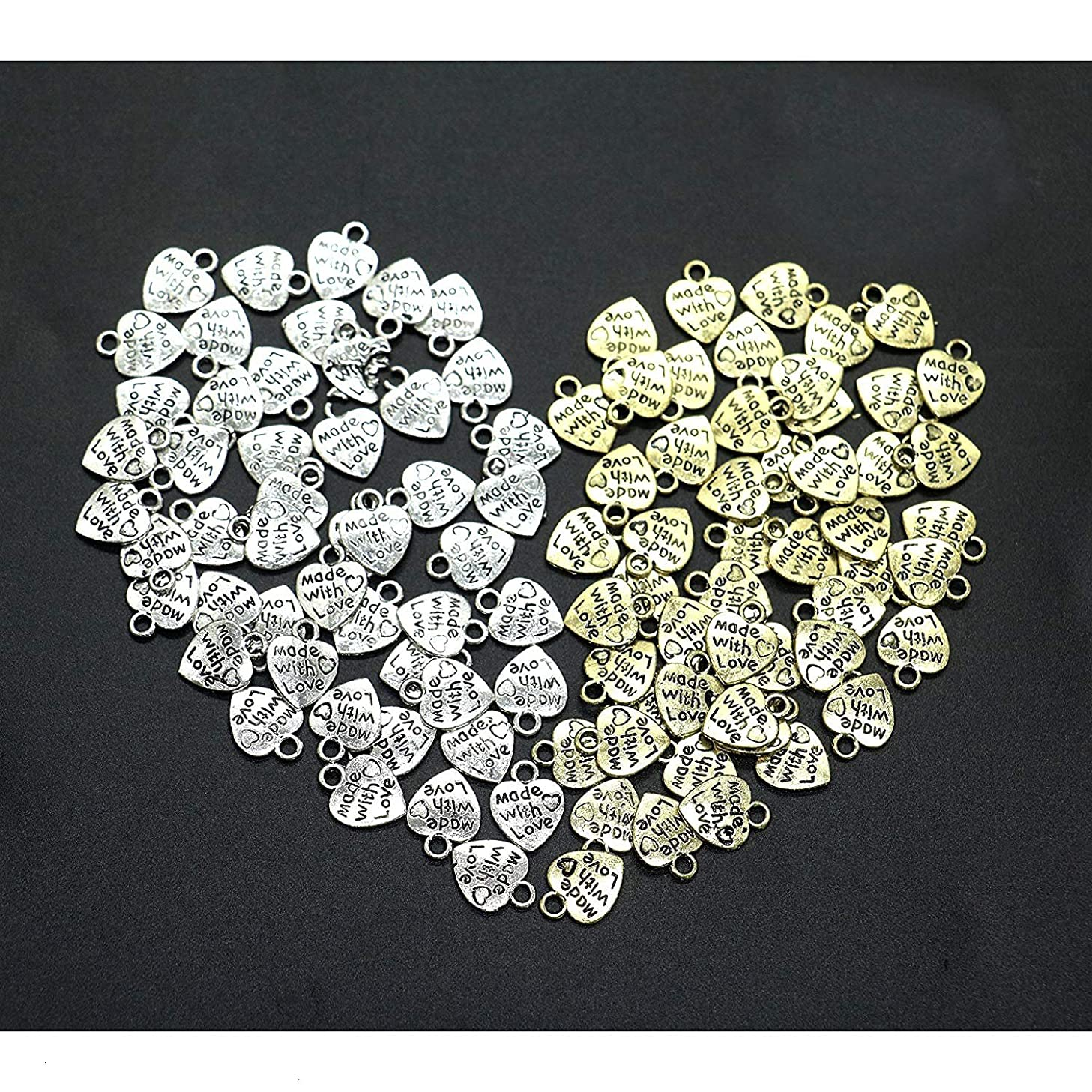 IDS Made with Love Heart Charms Pendants Necklace, Nickel Plated Silver Tone, Sliver, Golden, 100 Pcs