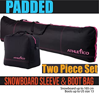Padded Two-Piece Snowboard and Boot Bag Combo   Store & Transport Snowboard Up to 165 cm and Boots Up to Size 13   Includes 1 Padded Snowboard Bag & 1 Padded Boot Bag