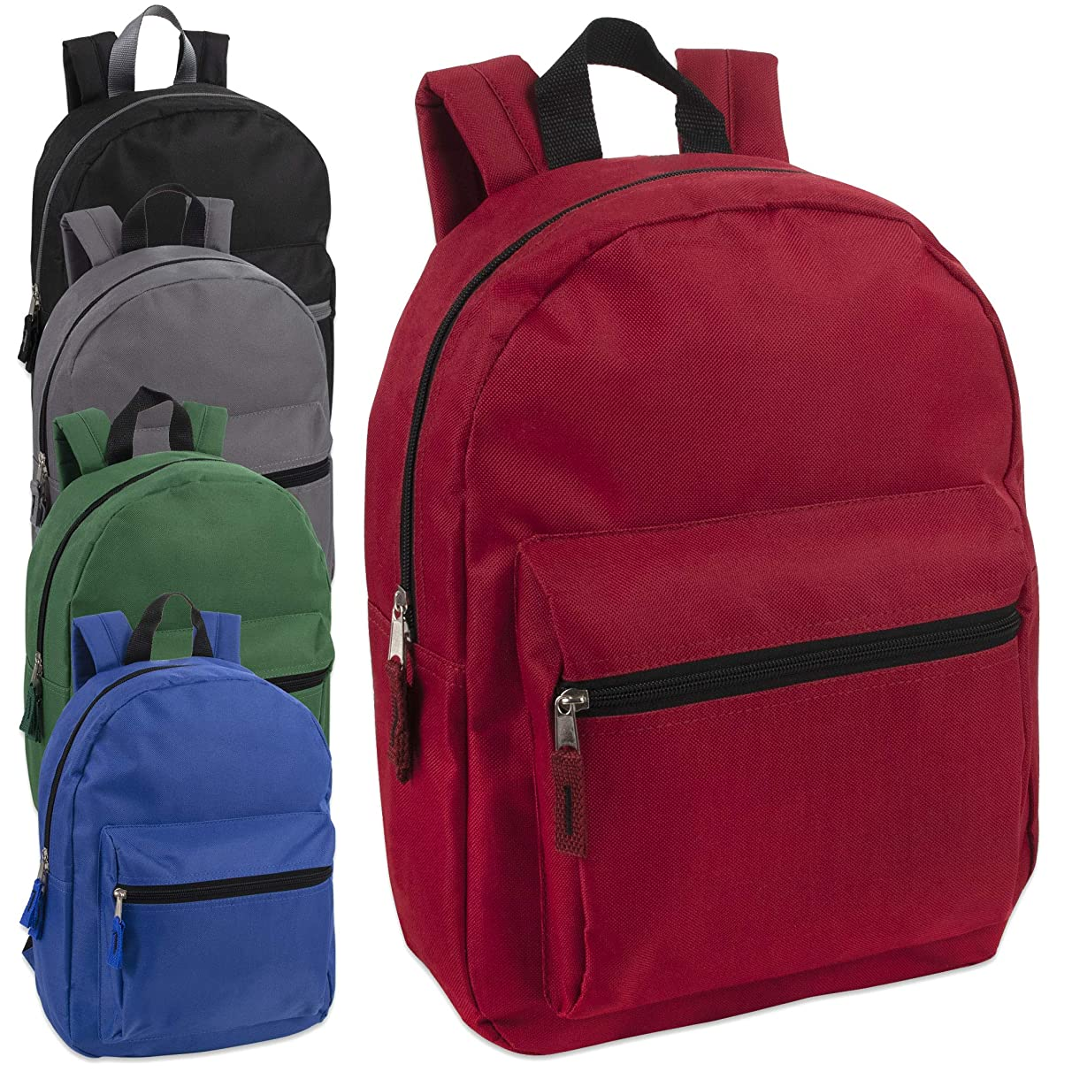 15 Inch Solid Backpacks For Kids With Padded Straps, Wholesale Bulk Case Pack Of 24 (5 Color Assortment)