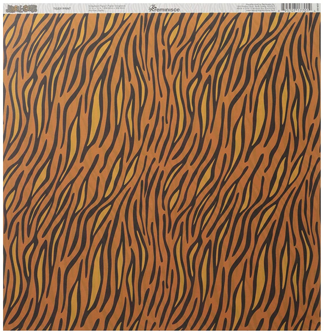 Reminisce Jungle-icious 12 by 12-Inch Double Sided Scrapbook Paper, Tiger Print