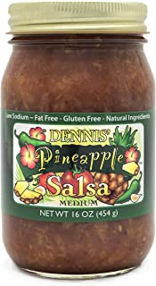 All-Natural Pineapple Salsa by Dennis' Gourmet | A Fresh, Hearty Restaurant Salsa that is Low Sugar, Low Cal, Low Carb, Low Sodium, and Gluten Free! Includes (1) Large 16 oz Jar