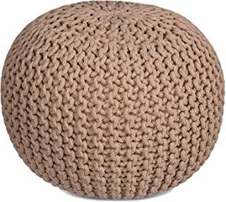 RAJRANG BRINGING RAJASTHAN TO YOU Cotton Braided Cord Kid Ottoman - Hand Knitted Floor Pouf Round Footstool Modern Kids Room Furniture Small Space Patio Seating - Tan - 16 X 11 Inch