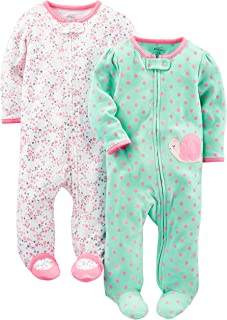 Simple Joys by Carter`s Baby Girls` 2-Pack Cotton Footed Sleep and Play