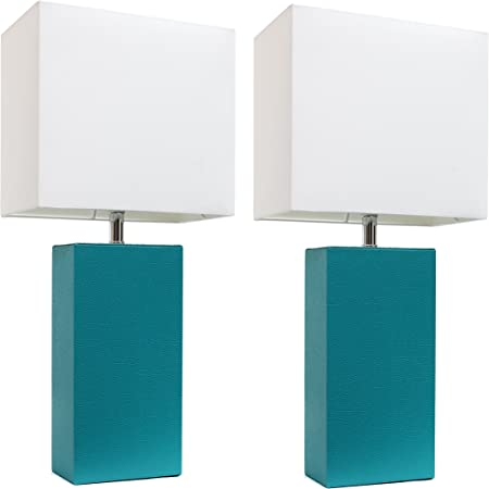 Elegant Designs Lc2000 Tel 2pk 2 Pack Modern Leather Table Lamps With White Fabric Shades 3 9 Teal 2 Count Amazon Com