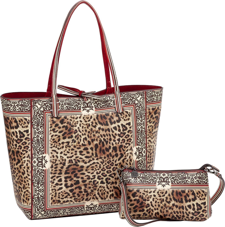Sydney Love Leopard Vegan Leather Reversible Tote & Wristlet Set, Red Multi