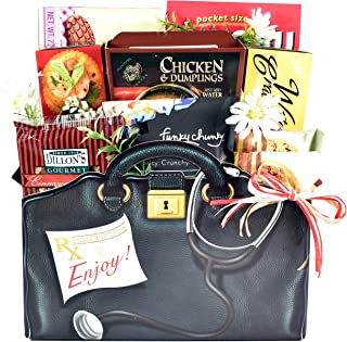 House Calls, Get Well Gift Basket in Designer Gift Box with Comfort Snacks to Ease Recovery