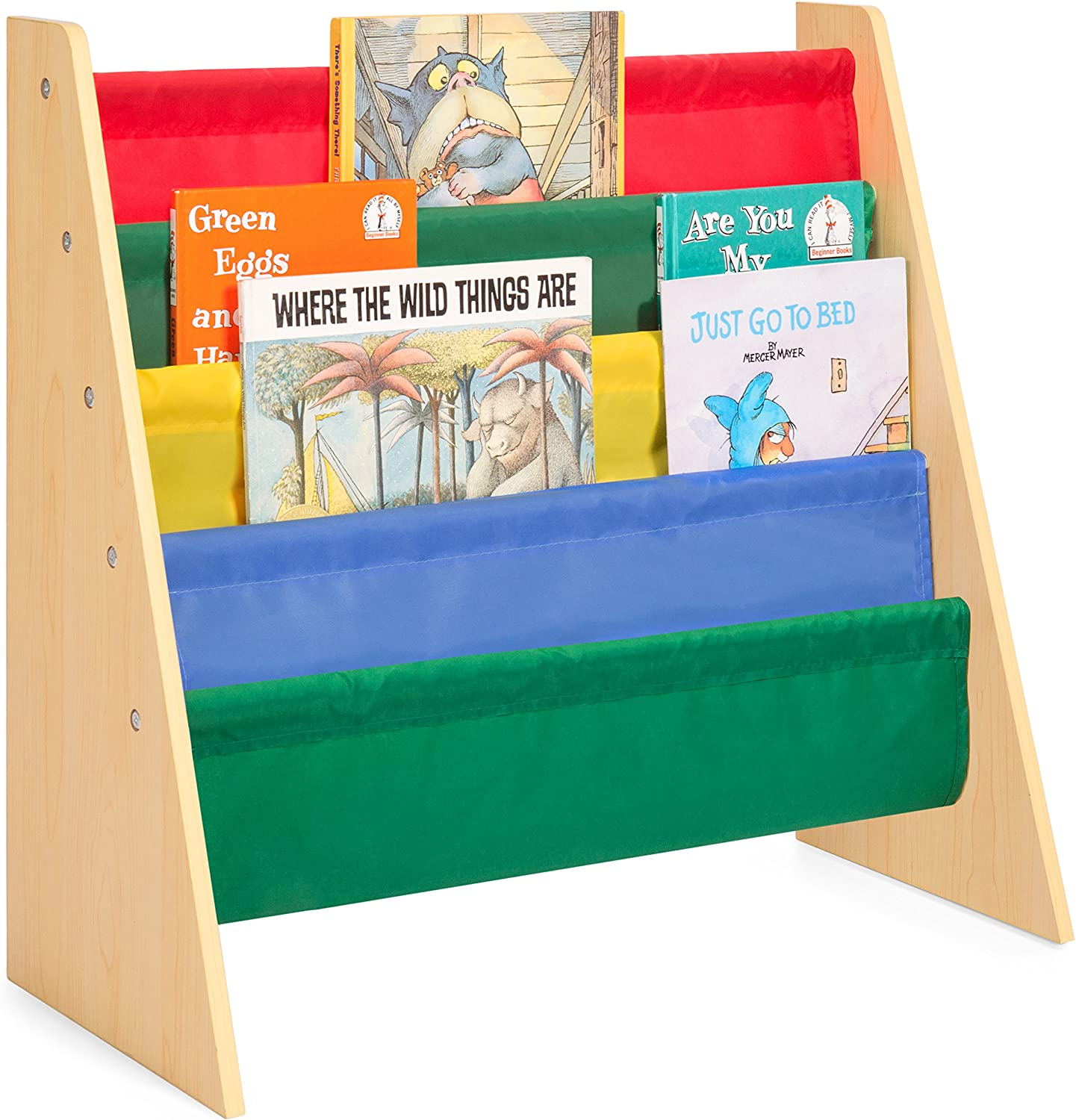 Best Choice Products Kids Bookshelf Toy Storage Rack w  Fabric Sleeves - Multicolor