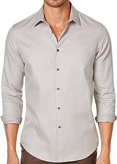 Tasso Elba Mens Dobby Pattern Point Collar Dress Shirt Taupe S