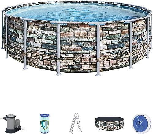 Bestway 56886 Piscine hors sol Power Steel™ ronde 548 x 132 cm motif pierre, filtration à cartouche, échelle, bâche, ...