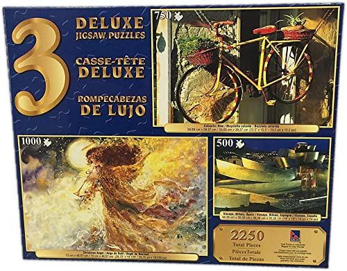 Deluxe Jigsaw Puzzle 3-Pack 500 - 750 - 1000 Pc  Vizcaya, Bilbao, Spain, Colourful Bike, Christmas Angel