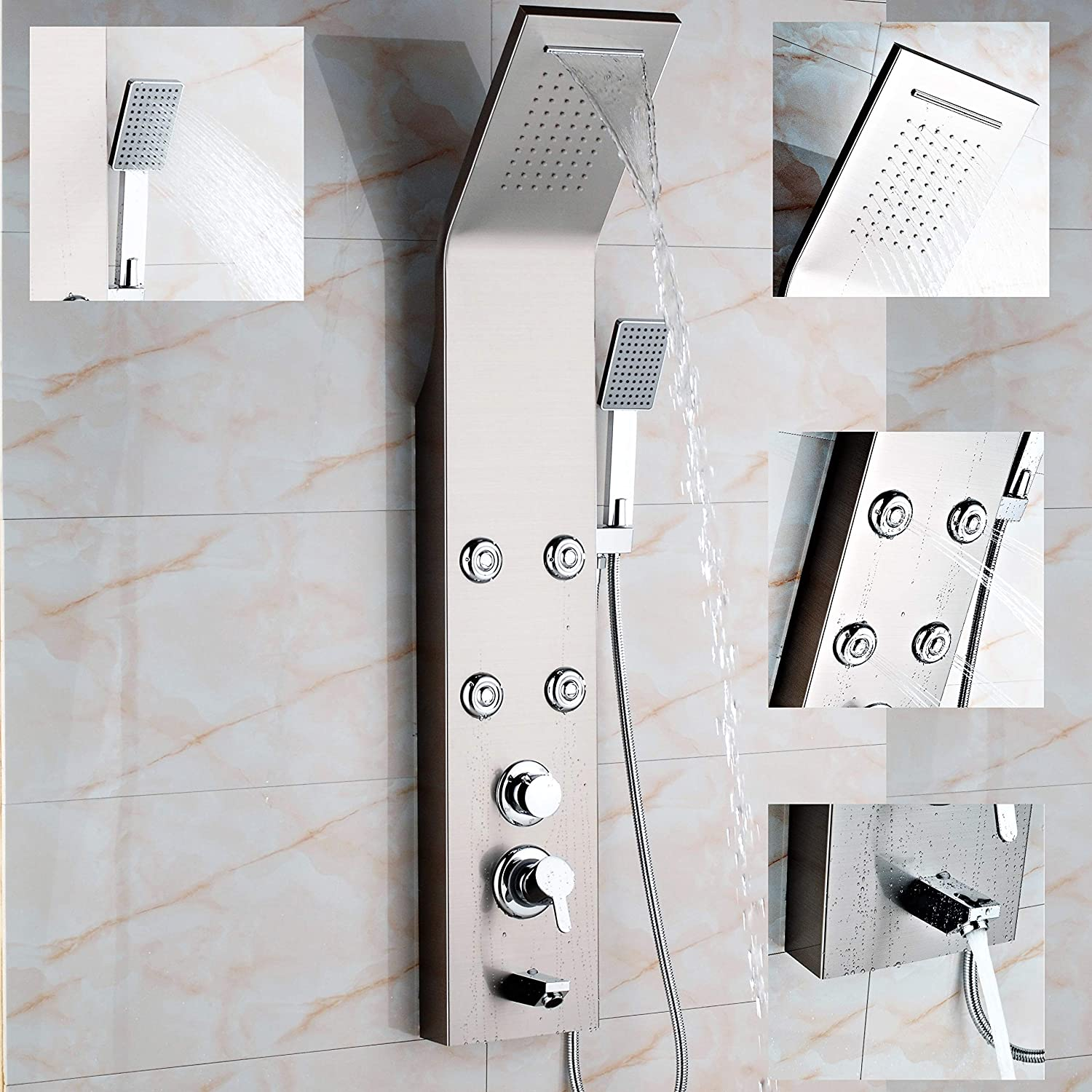 High-Quality Shower Panel Shower Set, Shower Panel with Massage Function, Colour  Brushed Nickel