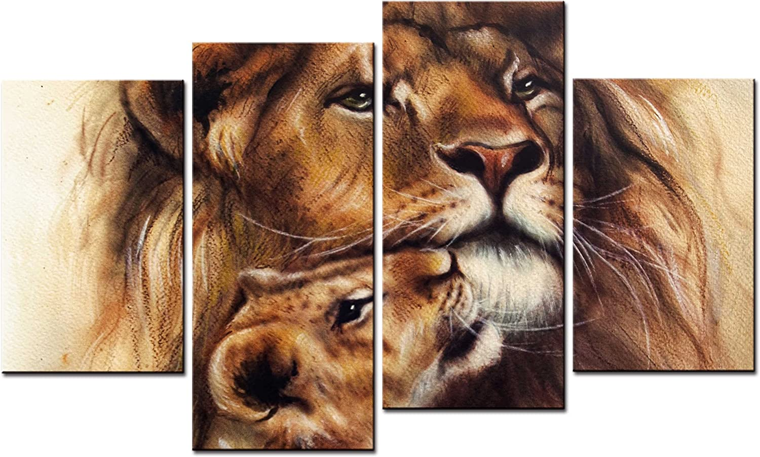 SmartWallArt - Animal Paintings Wall Art color Portrait Lion and Its Baby 4 Pieces Picture Print on Canvas for Modern Home Decoration