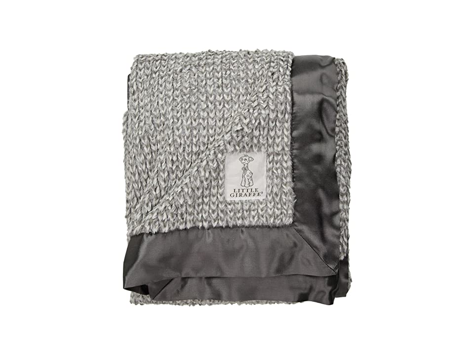 Little Giraffe Luxe Herringbone Blanket (Charcoal) Accessories Travel, Gray