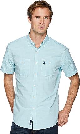 Short Sleeve EOE Slub Two-Pocket Woven Shirt-ZW
