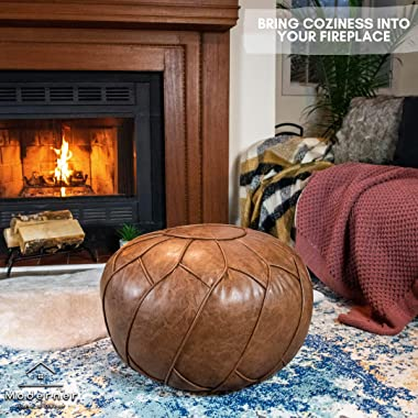 Moderner Faux Leather Pouf Unstuffed Ottoman Moroccan Footstool, Floor Footrest Cushion, Storage Solution - Natural Brown Col