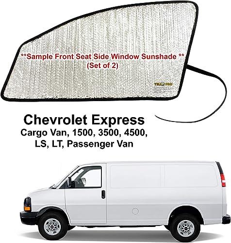 wholesale YelloPro online Side Window Front Seat Sunshade (Set of 2) Custom Fit for 1996 - 2021 Chevrolet Express Cargo Van, 1500, 3500, 4500, LS, LT, Passenger Van, UV popular Reflector Sun Protection Accessories online sale