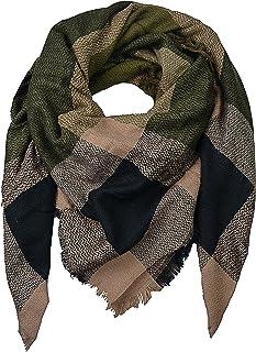 farbigem Streifen und Fransen styleBREAKER Damen Schal mit gro/ßem und kleinem Leoparden Muster Print Tuch 01016176