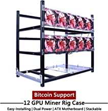 LAWOHO Miner Case 12 GPU - Open Air Mining Rig Aluminum Frame Kit for Bitcoin Litecoin Altcoin Ethereum (ETH) / ETC/ZCash Cryptocurrency ASIC Black Stackable Easy Install Rack