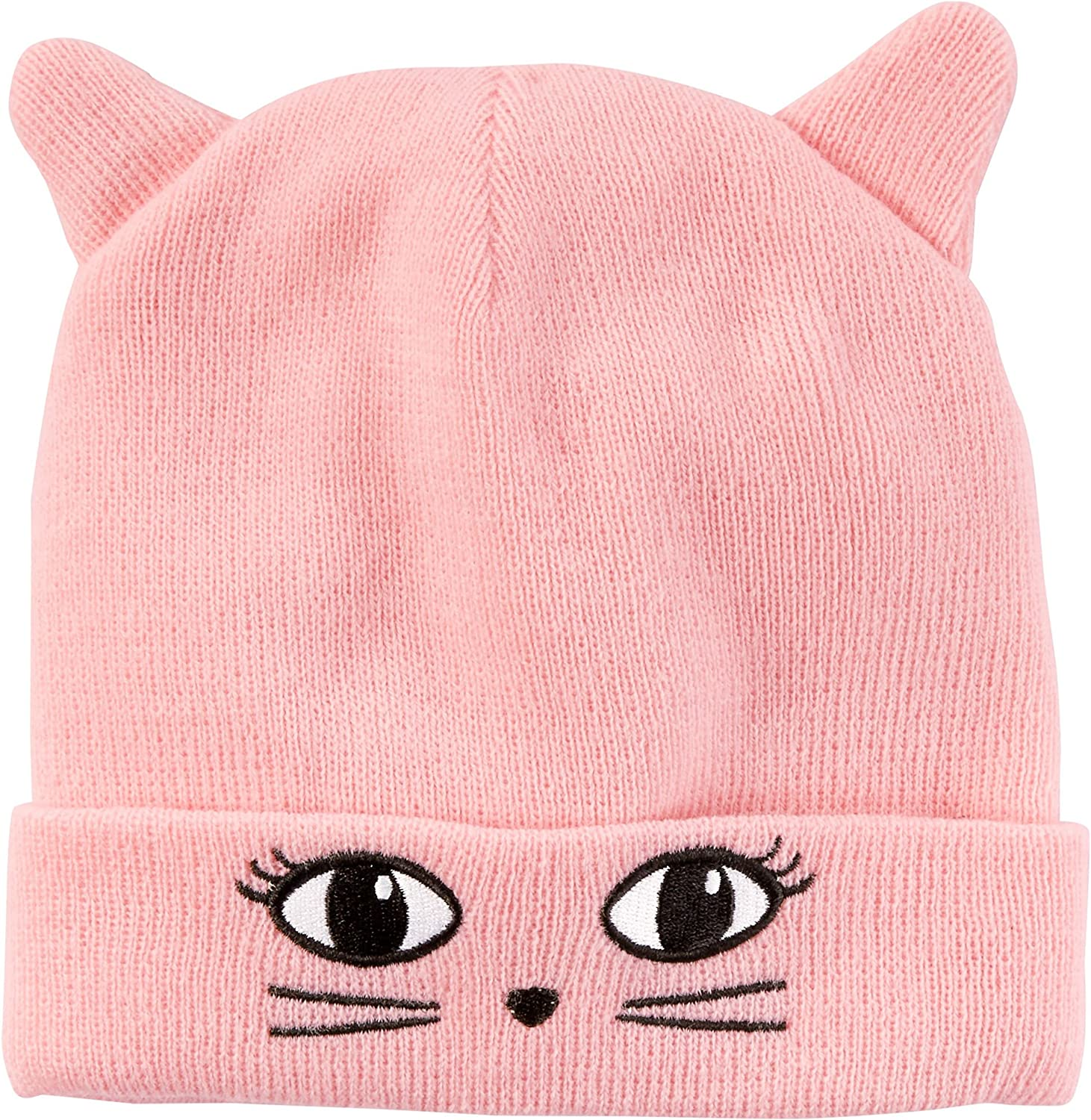 Carter's Girls Character Kitty Face Knit Hat; Pink (4-8)