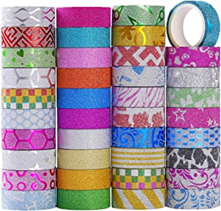 MONICO 39 Glitter Washi Tape Craft Decorative Tape Great for Bujo,Bullet Journal Accessories,Scrapbook, Arts and Crafts Projects
