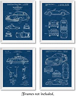 Original Porsche 911 Patent Poster Prints, Set of 4 (8x10) Unframed Photos, Great Wall Art Decor Gifts Under 20 for Home, Office, Studio, Man Cave, College Student, Teacher, Germany Cars & Coffee Fan