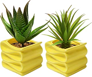 MyGift Set of 2 Modern Decorative Folded Design Small Ceramic Plant Pot/Flower Planter - Yellow